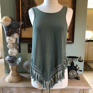 INDAH fringed hi Low beach cover top small green